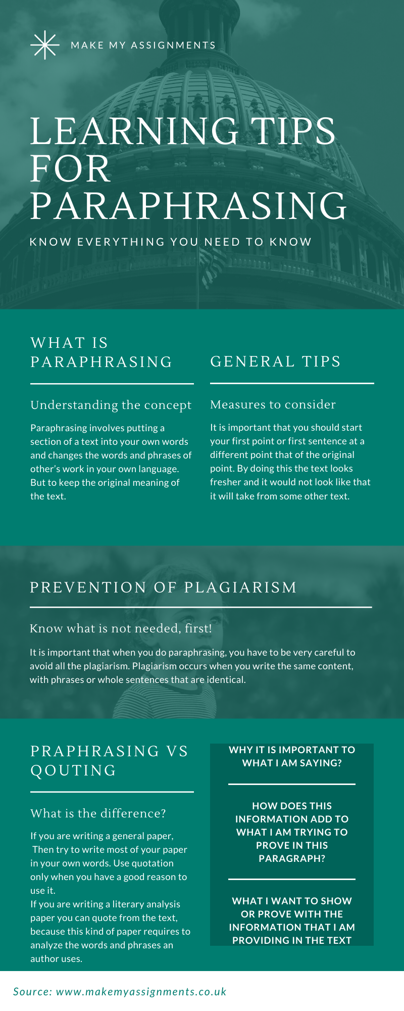 Learning tips to paraphrasing